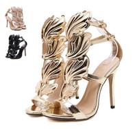 siyah altın stiletto ayakkabı toptan satış-Alev metal yaprak Kanat Yüksek Topuk Sandalet Altın Çıplak Siyah Parti Olaylar Ayakkabı Boyutu 35-40