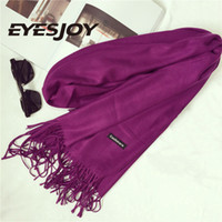 Wholesale Cotton Capes - Shawls and Scarves Cashmere Cape Plain Winter Warm Scarf Luxury Brand Pashmina Soft Scarves Female Tassel Cashmere Women Scarf