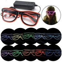 Barato Óculos Escuros Iluminados-Simple El Glasses El Wire Moda Neon LED Light Up Shutter Shaped Glow Sun Glasses Rave Costume Party DJ Óculos de sol brilhantes CCA6535 120pcs