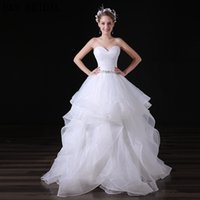 Wholesale Cheap Natural Diamonds - Sweetheart Diamonds Organza Wedding Dresses Charming White Tiered Cheap Custom Made Real Image Bridal Gowns A029