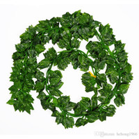 Wholesale Green Eco Walls - Simulation Green Leaves Fake Vine Lifelike Evergreen Cane Artificial Flower Ivy Leaf Wedding Home Decor Fashion Wall Hanging 1 6ly A R