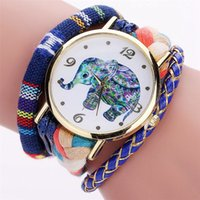 Wholesale Watches Elephant Design - Colorful elephant design fashion women wool rope bracelet watches 2017 wholesale casual ladies weaving dress quartz watches