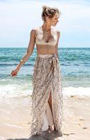 Wholesale Long Straight Beach Skirts Women - Sexy side split sequin long skirt women Elegant straight beach summer skirts Christmas evening party mesh maxi skirts