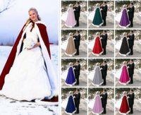 Wholesale Orange Hooded Dress - 2016 New Arrival Faux Fur Wedding Capes Hooded Navy Blue Red Plush Wedding Cloak Long Bridal Cloaks Jacket Wedding Dresses Accessories