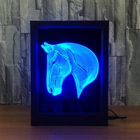 3D Horse LED Photo Frame Decoration Lamp IR Remote 7 RGB Lights DC 5V Factory Wholesale Drop Shipping