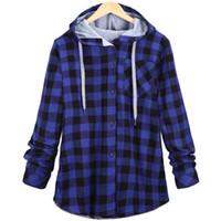 Wholesale Plaid Shirts Hoods - Wholesale- New Arrival Mens Hip Hop Plaid Extend Longline Cotton Shirt With Hood High Street Streetwear Size S-XXL m424