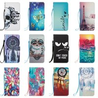 Wholesale owl silicone phone case - Flower Owl Leather Wallet Case For Sony L1 Galaxy (J3 J5 J7)2017 J330 J530 J730 Dreamcatcher Tower Skull Lace Don't Touch My Phone +Strap