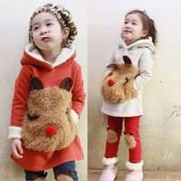 Wholesale Long Warm Sweaters For Kids - Wholesale- Winter style Girls sweater kids suits Long sleeve Hoodie kids fashion Warm kids pantsuits for 2-9 old Hoodies & Sweatshirts