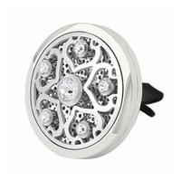 ingrosso olio di prugna-New Fashion 38mm Magnetico In Acciaio Inox Plum Blossom Car Diffusore Aroma Locket Olio Essenziale Accessori Auto