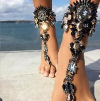 edelstein armbänder für frauen großhandel-Sommer-Art-Frauen-großer Edelstein-Knöchel-Armband-Sandelholz-reizvolle Bein-Kette Boho Kristallstrand-Fußkettchen-Anmerkungs-Schmucksachen YT