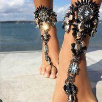 knöchelkette armband großhandel-Sommer Stil Frauen Großen Edelstein Knöchel Armband Sandale Sexy Bein Kette Boho Kristall Strand Fußkettchen Aussage Schmuck YT