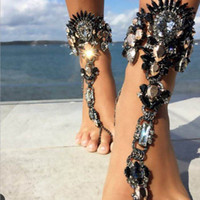 Wholesale Trendy Wholesale Women Sandals - Summer Style Women Big Gemstone Ankle Bracelet Sandal Sexy Leg Chain Boho Crystal Beach Anklet Statement Jewelry YT