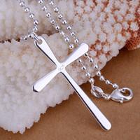 Wholesale Men S Cross Pendants - Wholesale Jewelry Necklaces Pendants Copper Men 's Long Cross Crosses Foreign Trade Silver Pendants Necklaces Setls