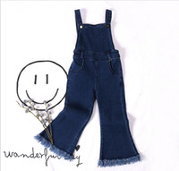 Wholesale Baby Denim Pants Suspenders - 2017 Spring Kids Girls Denim Tassel Pants Baby Girl Fashion Jean Suspender Pants Babies Korean Flare Overalls Children's clothing