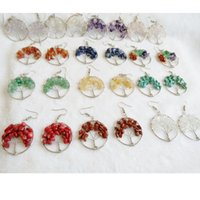 Wholesale Vintage Earring Tree - 12 Color Tumbled Gemstone Tree Of Life Dangle Earrings Vintage Retro Jewelry For Women Girls FBA Drop Shipping B165S