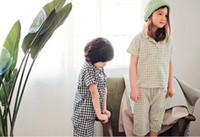 Wholesale Korean Sleepwear - Summer Kids Pajamas Korean Style Boy girl kids short sleeve pajama set 2 pcs sleepwear kids short clothes set