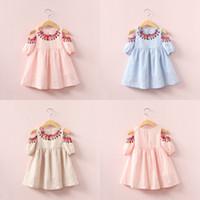 Wholesale Wholesale Custom Flower Girl Dresses - New baby girls folk-custom Flower dress summer cotton Children printing Strapless dresses Kids Clothing C2543