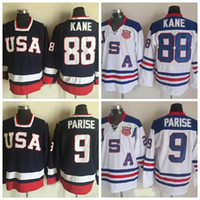 olimpik hokey mayo xxl toptan satış-2010 Olimpiyat Takımı ABD Hokeyi Formalar 88 Patrick Kane 9 Zach Parise Beyaz Lacivert ABD Dikişli Hokeyi Jersey S-XXXL