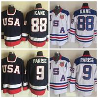 equipo usa hockey jersey blanco al por mayor-Camisetas del equipo olímpico de los Estados Unidos 2010 88 Patrick Kane 9 Zach Parise Jersey del hockey cosido azul marino de los EE. UU. S-XXXL