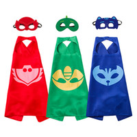 Wholesale Hallowen Mask Wholesale - 2017 Hallowen costume 70*70cm double layer satin superhero pj cape with masks for birthday boy party