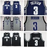Wholesale Allen Iverson Georgetown Jersey - Georgetown Hoyas College 3 Allen Iverson Jersey University Tean Black Blue Gray Allen Iverson Basketball Jerseys Shirt Uniform