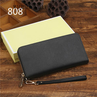Wholesale Iphone Wallet Cell Phone - 2017 Fashion Women luxury MICHAEL KALLY MK wallets famous Genuine leather wallet single zipper Cross pattern clutch girl purse for iphone