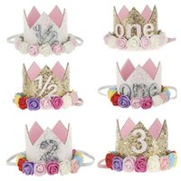 Wholesale Baby Prince Crown Hat - Baby Birthday Cap Hat Hair Accessories Headbands Headwear Cute Flower Paper Princess Prince Gold Shiny Crown Kids Birthday Party Cone Cap