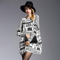 Mode Womens Baggy Zeitung Print Knit Pullover Onesize Jumper Casual Pullover Womens Strick Frühling Herbst Oversized Pullover