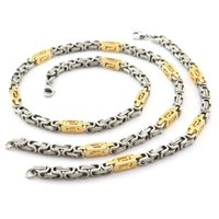 Wholesale Bracelets Jewerly Boxes - Vintage Gold and Silver High Quality turkish jewerly men Byzantine Box Chain Necklace&Bracelet 6mm Width Stainless Steel Set NB005