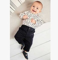 Wholesale Toddler Romper Pcs - Baby boys romper sets fashion toddler kids floral printed long sleeve jumpsuits +pants 2 pc clothing sets 2017 Infant spring clothing T3048