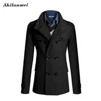 Wholesale Trenchcoat Style - Wholesale- trench coat men British Slim double breasted Acrylic mens long trench coat turn-down collar trenchcoat long sleeve jacket male