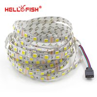 Wholesale White Tape Fish - Wholesale-Hello Fish 5m 300 LED 5050 LED Strip light DC 12V White & Warm White Double Color LED Tape