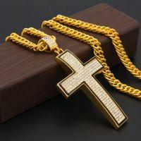 Wholesale Big Rhinestone Cross Pendants - Brand New Mens Cross Pendant Necklace Long Hip Hop Brass Link Chain Gold Plated Fashion Men Jewelry Bling Big gemstone Necklaces & Pendants