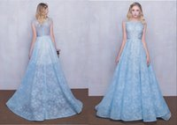 Wholesale Elegant Tulle Round Neck - High-End Custom 2017 New Evening Sleeves Real Picture Sexy Lace Dress Light Blue Small Round Neck Flower Trailing Long Dresses Elegant gowns