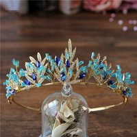 Wholesale Blue Crystal Wedding Headpiece - Wedding Bridal Blue Crown Tiara Headpiece Wholesale Brand New Vintage Jewelry Sparkling Crystal Rhinestone Headbands Hairband Handmade Party