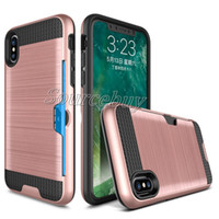 Wholesale Galaxy Pocket Back Case - Wire Drawing Case For Samsung Galaxy Note8 S7 Cases for iphone X 7 plus Back Cover Card Pocket for LG MOTO phone accessories