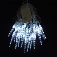 Wholesale Icicle Shaped Lights - Wholesale-4M 20 LED Christmas Icicle Shape String Fairy Light Xmas Party Wedding Decoration Festival Navidad 2016