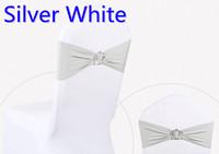 cadeira de cinto de prata branca venda por atacado-Fivela de coroa de prata cor branca fivela lycra para cadeiras de casamento decoração faixa de spandex stretch bow tie cinto de fita lycra à venda