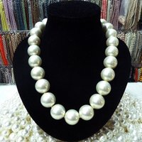 Barato Colar De Pérolas De Mar Branco-FREE SHIPPING nova jóia nobre de jóias finas RARE-Huge-16mm-White-South-Sea-Shell-Pearl-Necklace-18-034-AAA