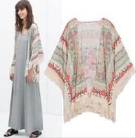 borla kimono vintage al por mayor-Blusas Camisas Moda Mujer Kimono Cardigan Flor Vintage Impreso Borla Blusas femininas blusas Señoras Tops Ropa de Mujer Appare