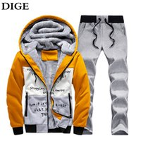 Wholesale Cheap Fashion Suits For Mens - Wholesale-Winter Warm Fleece Hoodies for Mens Tracksuit Set Brand Clothing Sudaderas Hombre Sportwear Mens Suits Sweatshirt Cheap B0180