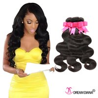 Wholesale Dreams Chinese - Cheap Brazilian Hair Bundles Body Wave Human Hair Extensions Brazilian Malaysian Indian Peruvian Virgin Hair Weave 3 Bundles Dream Diana