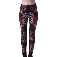 Wholesale Plus Size Leggings Wholesalers - Wholesale- 2016 6 Patterns Hot Sale Plus Size Fitness SKull Flower Printing Leggings Harajuku Skull Floral Leggins 4XL