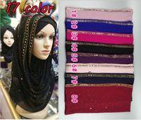 Wholesale Solid Color Long Silk Scarves - Wholesale- quality diamond chiffon silk solid color glitter chiffon silk long shawls wrap muslim autumn muslim scarves scarf