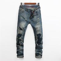 jeans projeta pernas venda por atacado-Atacado-Popular Buraco Usado Rasgado Calça Jeans Homme Retro Plus Size Perna Reta Remendo Skinny Jeans Homens Comprimento Total Marca Denim Calças Desenhadas
