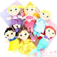 "Wholesale New Sleeping Beauty - EMS New 6 Styles 6"" 15CM Fairy Tale Stuffed Doll Ariel Belle Cinderella Princess Aurora Sleeping Beauty Snow White Plush Pendants Soft Toys"