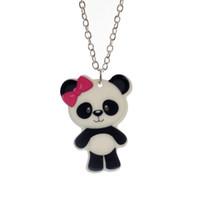 """Wholesale Girls Panda Shorts - Wholesale-Fashion Girls Kids Gift Jewelry Cute Panda Pendant 16"""" Short Chain Necklace Free Shipping KS132"""