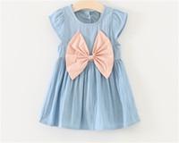 Wholesale Children Denim Shorts - New baby girls Denim dress summer cotton Children Bow dresses Kids Clothing 2 colors C2116