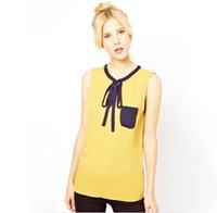 Wholesale Embellished Blouse - European Style Color Matching Pocket Embellished Sleeveless Blouse Yellow