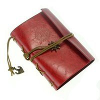 Vente en gros - Retro Vintage Leather Bound Pages vierges Journal Journal Bloc-notes Bloc-notes (Rouge) S
